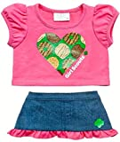 Build a Bear Girl Scout Hot Pink Tee Denim Skirt 2 pc. Heart Outfit Teddy Size Clothes