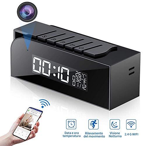 Telecamera Spia 1080P, Nascosta WIFI Orologio Sveglia Spy Cam HD Videocamera con Visione Notturna e Rilevamento del Movimento per Casa e Ufficio-Monitoraggio Remoto in Tempo Reale