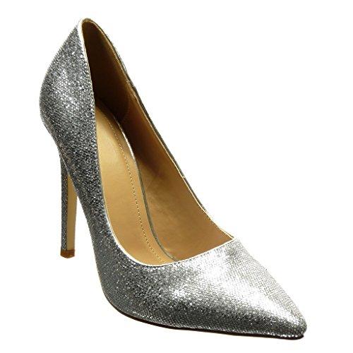 Angkorly Damen Schuhe Pumpe - Stiletto - Sexy - Glitzer - Glänzende Stiletto High Heel 11 cm cm - Silber WD1716 T 41