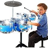 Creation® tambor de juguete Juego de niños de 11 piezas Niños Instrumento musical Drum Set de juego w / 6 tambores, platillos, Silla, Kick Pedal, los palillos (azul)