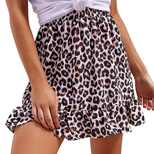 ACEBABY Cintura elástica con Estampado de Leopardo y Falda de Manga Corta con Volantes Mujeres A-Line Faldas Plisadas de Color Sólido de Alta Cintura Larga Falda Swing Circle Falda