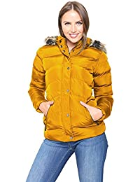 e7a1ea933d868 Spindle Women s Designer Hooded Short Parka Jacket Quilted Padded Coat Zip  Pockets Womens