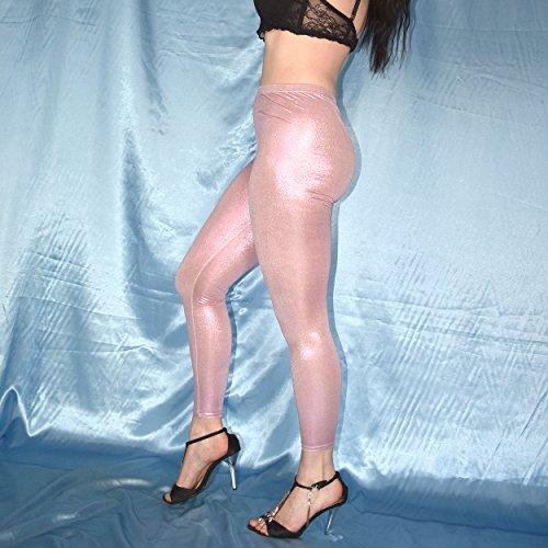 shiny WETLOOK LEGGINS versch. Farben* S * Lack Leggings* Gymnastik Spandex Hose (rot) Rosa