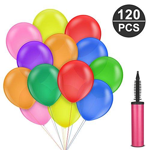 Luftballons Bunt, Komake 120 Stück Luftballons Luftballon Ballons mit Ballonpumpe,Party Luftballons Helium,Ballon,Partyballon,Farbige Ballons,Bunte Ballons für - Ballon Spiele Halloween
