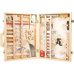 """small foot 2241 Mallette à outils """"Deluxe"""" en bois, avec accessoires comme marteau, scie, rabot etc. 48 pièces, à partir de 3 ans"""