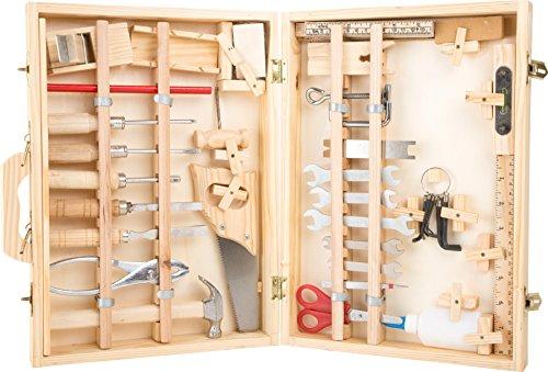 small foot  2241 Mallette à outils 'Deluxe' en bois, avec accessoires comme marteau, scie, rabot etc. 48 pièces, à partir de 3 ans
