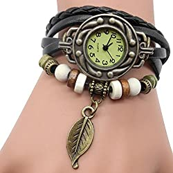 Cuitan Vintage Quartz Wrist Watch, Fashion Weave Wrap Around Bracelet Leaf Style Lady Woman Students Wrist Watch