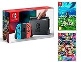 Nintendo Switch Rouge/Bleu Néon 32Go Pack + Mario Kart 8 Deluxe + Zelda: Breath of...