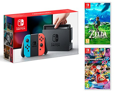 Nintendo Switch Rouge/Bleu Néon 32Go Pack + Mario Kart 8 Deluxe + Zelda: Breath of The Wild
