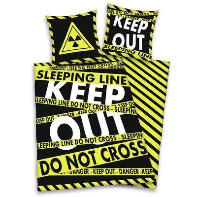Herding 485921050 Bettwäsche Keep Out, Kopfkissenbezug 80 x 80 cm und Bettbezug 135 x 200 cm, 100% Polyester, Microfaser