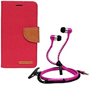 Aart Fancy Wallet Dairy Jeans Flip Case Cover for LenovoA-6000 (Red) + Zipper Earphones/Hands free With Mic *Stylish Design* for all Mobiles- computers & laptops By Aart Store.