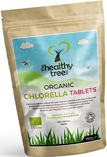 Compresse di Chlorella BIO - Alto contenuto di Clorofilla, Proteine, Ferro e Aminoacidi - Chlorella Compresse Biologiche a Cellule Rotte Certificate nel Regno Unito by TheHealthyTree Company
