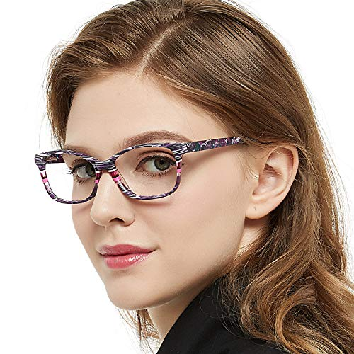 OCCI CHIARI Damen Brillengestell Optische Gläser violett Medium Optische Brillen Rahmen Brillengestell mit elastischem Federscharnier und klaren Linsen für Damen...