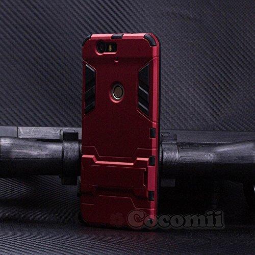 Cocomii Iron Man Armor Huawei Nexus 6P Hülle [Strapazierfähig] Erstklassig Taktisch Griff Ständer Stoßfest Gehäuse [Militärisch Verteidiger] Ganzkörper Case Schutzhülle for Huawei Nexus 6P (I.Red)