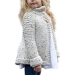 Koly El niño pequeño embroma a las niñas del bebé Ropa de equipo Suéter tejido de punto Abrigo de la chaqueta de la rebeca Color sólido O-Neck tejido de punto Suéter Chaqueta de punto (90, Beige)