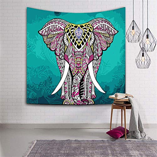 mvbmbbc Tapiz de Elefante Indio Color Impreso Decoración para el hogar Manta de Pared Tapiz de Mandala religioso Alfombra de Pared Boho [Enviar Accesorios]