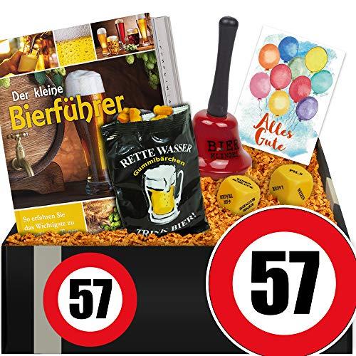 Zahl - 57 | Geschenkbox Bier mit Trinkspiel | Geschenke 57. Geburtstag Mutter