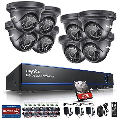 [1980*1080P HD] SANNCE® Kit de 8 Cámaras de Vigilancia Seguridad (Onvif H.264 CCTV DVR P2P 8CH AHD 1080P y 8 Cámaras 2MP IP66 Impermeable, IR-Cut, Visión Nocturna Hasta 20M, Exterior y Interior, HDMI, 24 LEDs Seguridad Kit) - 2TB Disco Duro
