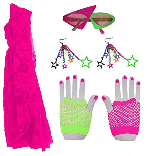 shoperama Set 80er Jahre Neon Girl Tuch Brille Ohrringe Handschuhe Kostüm-Zubehör 80`s Achtziger Madonna Disco Pop (Madonna Kostüm Material Girl)