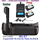 Kastar Pro Multi-Power Vertical Battery Grip (Replacement For BG-E7) + 2x LP-E6 Replacement Batteries + Ultra Fast Charger Kit For Canon EOS 7D (Not For Mark II) Digital SLR Camera