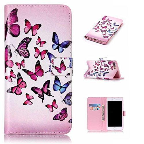 """Igrelem® - Custodia per iPhone 7 da 4,7"""", con protezione per lo schermo in vetro temperato in omaggio, protezione in pelle PU, struttura a portafoglio, motivo: fiori, farfalla, cerco, orso, piuma, dec Butterfly, Pink"""