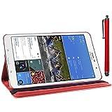 ebestStar - für Samsung Galaxy Tab Pro 8.4 SM-T320 [Genaue Abmessungen Ihres Geräts : 219 x 128.5 x 7.2 mm, bildschirm 8.4''] - Hülle mit Klappe aus Kunstleder und um 360° drehbarem Ständer + Stilett, Farbe Rot