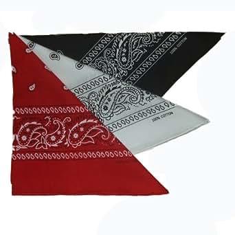 Bandana foulard lot de 3 noir blanc rouge 100% coton