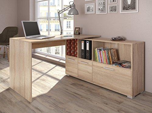 Eckschreibtisch 136 x 75 cm Weiß / Eiche Sonoma - Schreibtisch Arbeitstisch Winkelschreibtisch Bürotisch