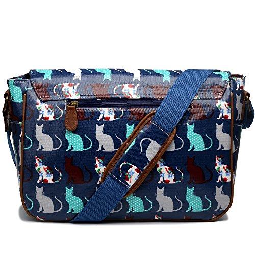 Miss Lulu borsa a tracolla tela cerata 2 tasche con gatti Blu