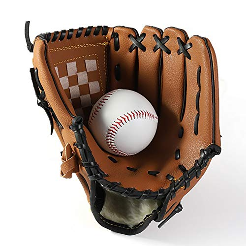 oftball Sport im Freien Schlagen Pitcher Handschuhe Catcher's Mitt mit Baseball PU-Leder 11,5 Zoll für Erwachsene Jugend Kinder braun ()