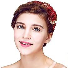 YAZILIND Tocado Belleza Nupcial Diadema Rojo Flor Perlas Rhinestones Pelo de la Boda Accesorios Fiesta Mujeres
