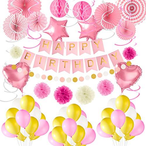 Tuparka 65 Pack Pink Birthday Party Decoration Kit Feliz cumpleaños Banner Fans de Papel Pom Poms Flores Globos Colgando Remolino Suministros de decoración de Fiesta