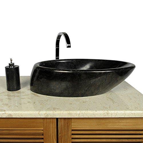 wohnfreuden Marmor Waschbecken Net Tropfen ✓ 60 oval schwarz poliert ✓ ideal als Steinwaschbecken oder Naturstein Aufsatzwaschbecken für Bad Gäste WC