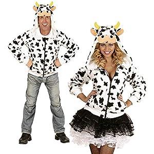WIDMANN 07012?Adultos Disfraz Vaca, Sudadera con Capucha, Color Blanco, tamaño S/M