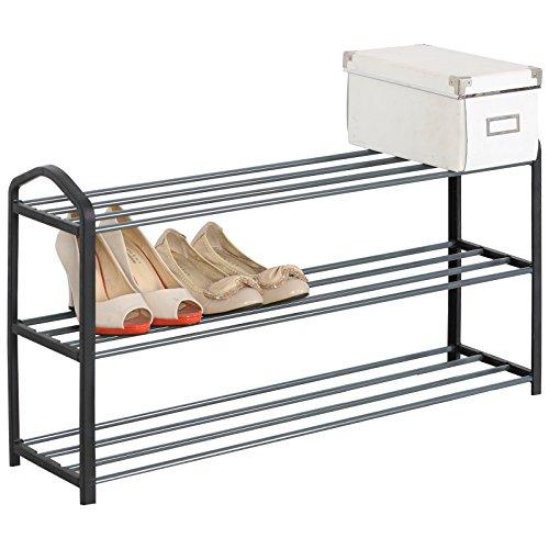 EUGAD Schuhregal Schuhablage Schuhständer, 3 Schicht, Ständer Regale Für 12  Paare Schuhe, Ständer Regale, 79x19.5x45cm, Schwarz, SR0020sz3