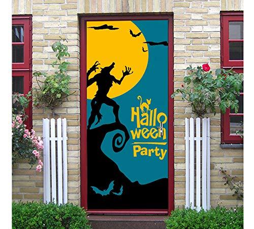 DACDAB Tür Aufkleber Werwolf Fledermaus Mond Festival Wand Tür Aufkleber Halloween Neue Dekorative Kinder Schlafzimmer Dekorative Cartoon Aufkleber 77X200 cm