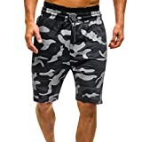 MOIKA Herren Everyday Shorts, Herren Sommer Casual Camouflage Shorts Hosen Freizeithosen(L,Schwarz)