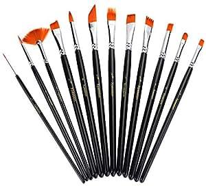 Xpassion 12Pcs runde spitze Spitze Nylon Haar-Farben-Bürsten gesetzt für Acryl Aquarell Ölgemälde