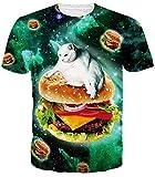 Leapparel Unisex Funny Cat Y Hamburguesa Impreso Personalizado Cool T Shirts Camisetas XL