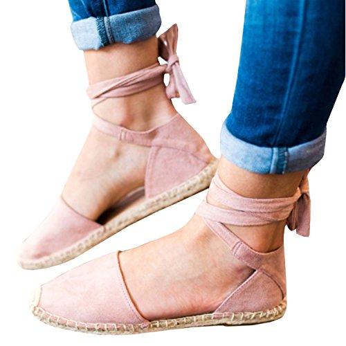 Gemijacka Damen Knöchel Schnalle Riemen Espadrilles Ausgeschnitten Binden Niet Klassischen Sommer Flache Sandale Schuhe (39, 1-Rosa)