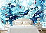 Mbwlkj 3D Moderne Individuelle Fototapete Große 3D-Hände Malen Cartoon Delfine Wandbild Wohnzimmer Schlafzimmer Hintergrundbild-250Cmx175Cm