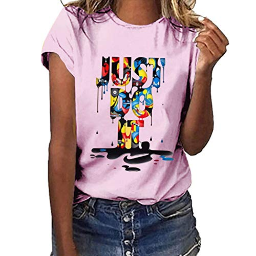Frauen Kurzarm T-Shirt,T-Shirt mit Lässiges T-Shirt Bluse Tops Buntes Muster Bedrucktes Kurzarm-T-Shirt Plus Size Print
