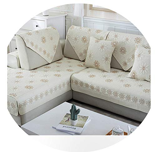Double-Sided Cotton Sofa Cover Cushion White Embroidered Sofa Towel Modern Simple Living Room Corner Sofa Armrest Towel B 70x70cm 1pcs -