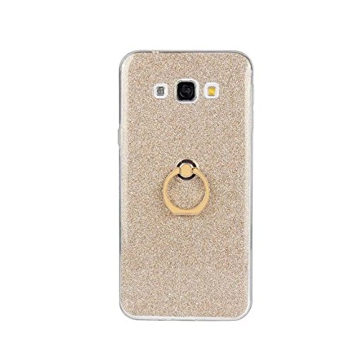 Luxus Bling Sparkle Style Case, Soft TPU [Silikon] Flexible Glitter Back Cover mit Fingerring Stand [Anti Scratch] [Shockproof] für Samsung Galaxy A8 ( Color : White ) Gold