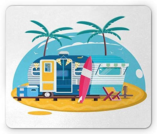WYICPLO Camping Mouse Pad, Traveler Trailer with Boards for Surfing on a Beach Tropical Trees Summer Vacation, Standard Size Rectangle Non-Slip Rubber Mousepad, Multicolor -