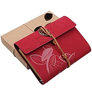CasaNet- Vintage Design Taccuino Copertina In Pelle con Cinghia e Accessori Foglia, Pagine Bianche Diario Quaderno degli Appunti Memo Agenda Notebook (Rosso Scuro)