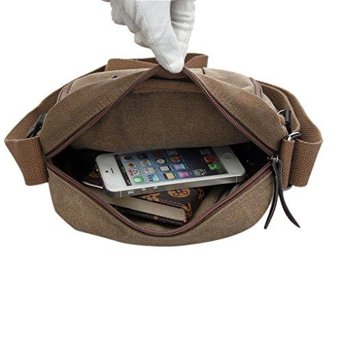 Herren Canvas Praktisch Schultertasche Umhängetasche Herrentasche Reisetasche Handtaschen Sporttasche für Schule Weekend Reise Arbeit Kaffeebraun