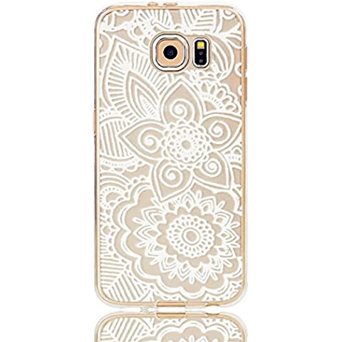 TKSHOP Case Cover Per Samsung Galaxy S6 Custodia TPU Silicone Gel Morbido Trasparente Caso Anti-impronte digitali Antigraffio Bello modello Dipinto - Henna Grande Mandala Floral Dream Catcher