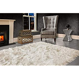 VICEROY BEDDING Modern Extra Large 9cm Thick Dense Pile SHAGGY RUG with SPARKLE SHIMMER Strands - For Living Room Area Rugs - Luxurious Super Soft Touch (Cream Ivory, 240cm x 340cm (7.9ft x 11.2ft))