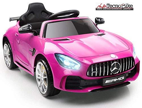 Tecnobike Shop Auto Macchina Elettrica per Bambini Mercedes Benz AMG GTR 12V 2 Motori SoftStart GT-R AMG con Telecomando Parental Control Luci e Suoni Mp3 (Rosa)